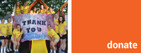image of group of camp counselors around a thank you image sign and link to donate page